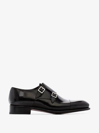 black double strap leather monk shoes