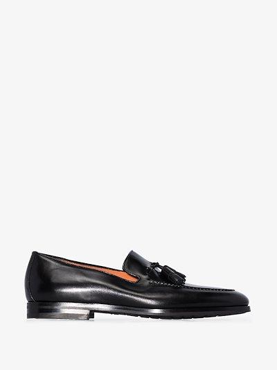 black tasselled leather loafers