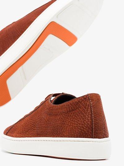 brown low top suede sneakers