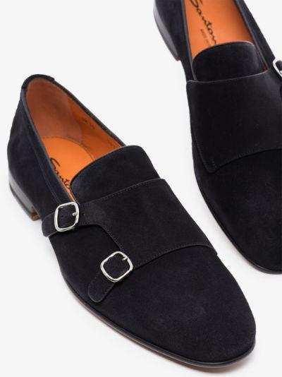 dark blue suede monk shoes