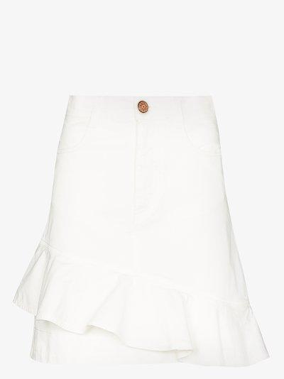 asymmetric ruffle denim mini skirt