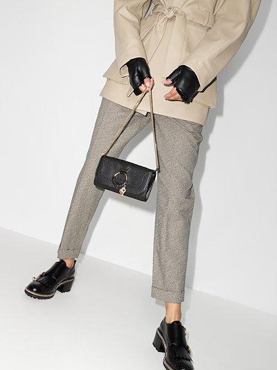Black Hana Leather Chain Wallet Bag