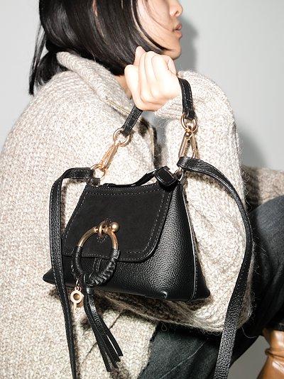 black Mini Joan leather cross body bag