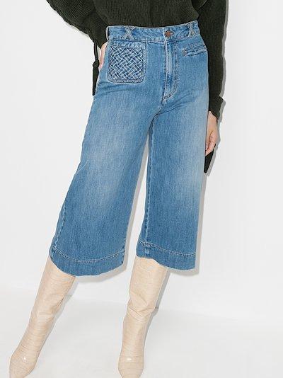 braided pocket denim culottes