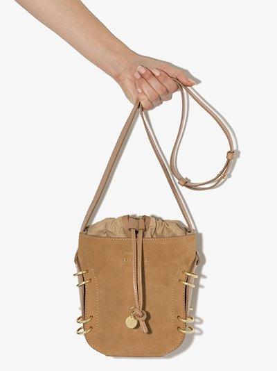 brown Alvy suede leather bucket bag