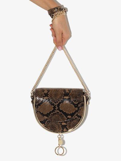 brown Mara snake print leather cross body bag