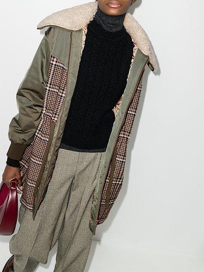 check panelled parka coat