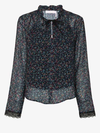 floral haze print ruffle blouse