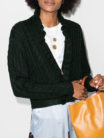 frill zip-up knit cardigan