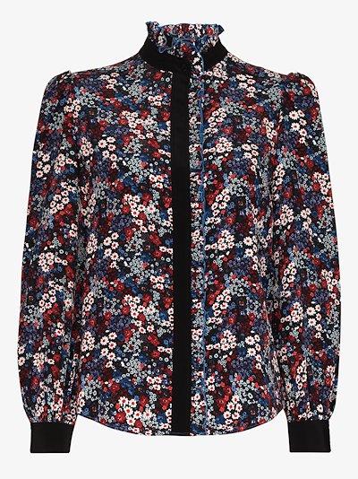 high neck floral print silk blouse