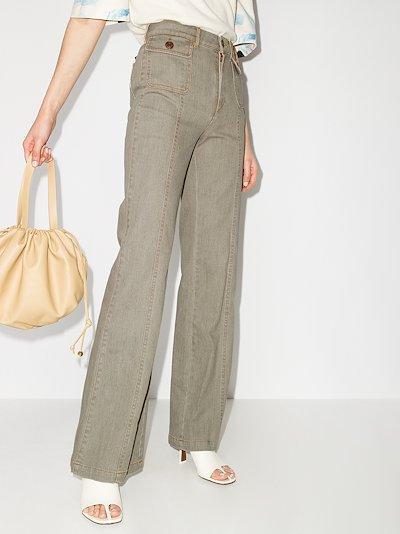 Pocket Detail Flared Jeans