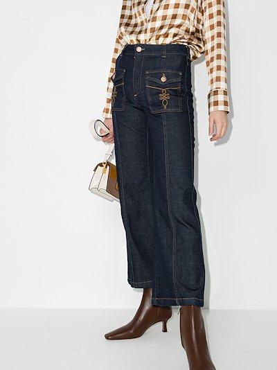 pocket detail kick flare jeans