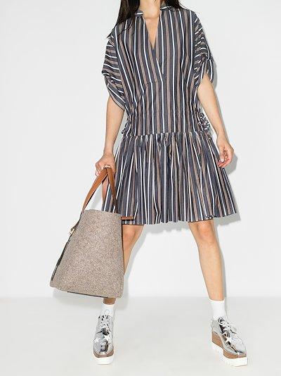 Striped gathered cotton dress