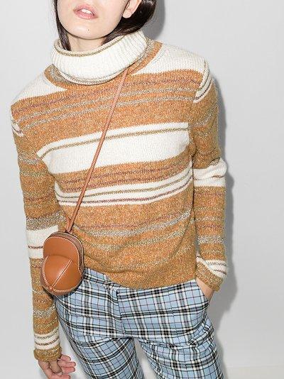 striped roll neck wool sweater