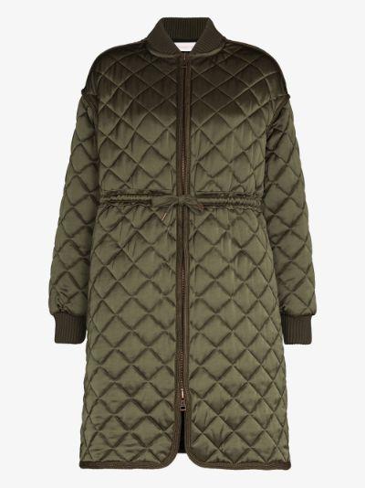 tie waist quilted coat