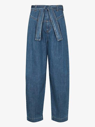 tie-waist wide leg jeans