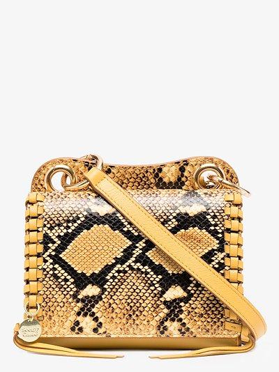 Yellow Tilda mini snake print bag