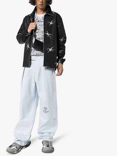 Unisex spider detail zip-up jacket