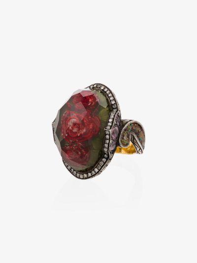 24K yellow gold rose quartz diamond sapphire cocktail ring
