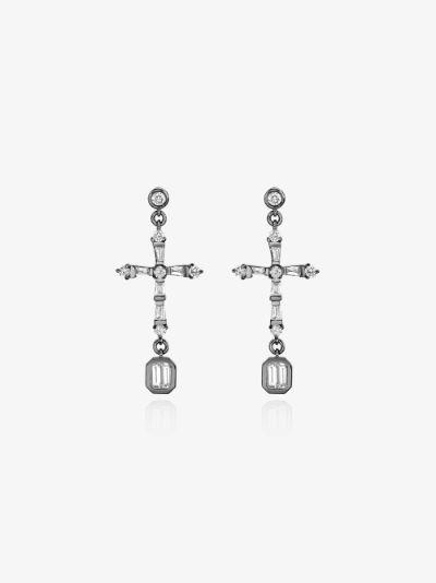 18K black gold cross diamond earrings