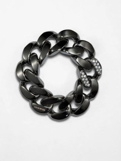 18K black gold diamond link ring