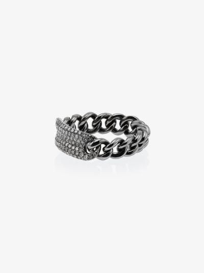 18K black gold ID Baby Link diamond ring