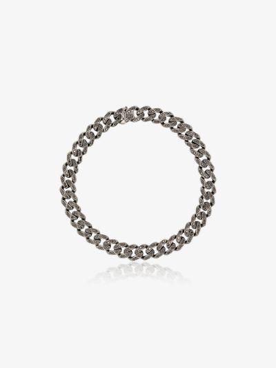 18K black gold medium flat link diamond bracelet