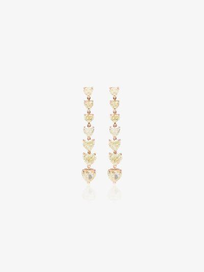 18K rose gold 7 Heart diamond drop earrings