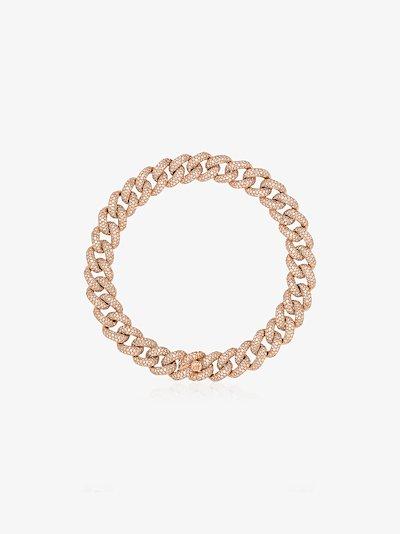 18K rose gold 8 inch pavé diamond bracelet