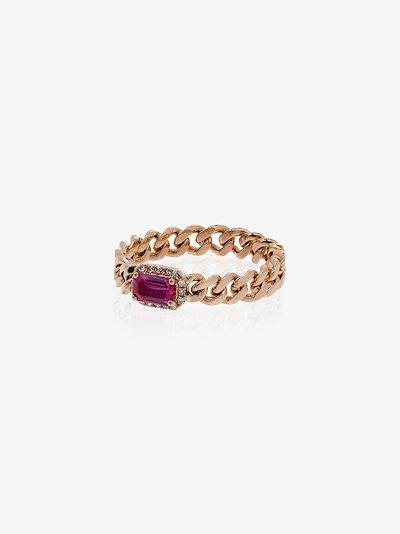 18K rose gold Baby Link ruby diamond ring