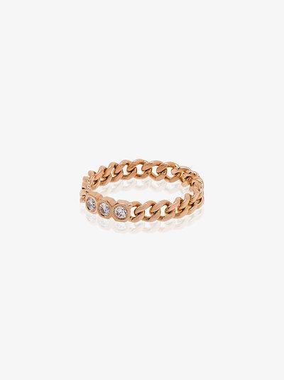 18K rose gold Baby Link triple diamond ring