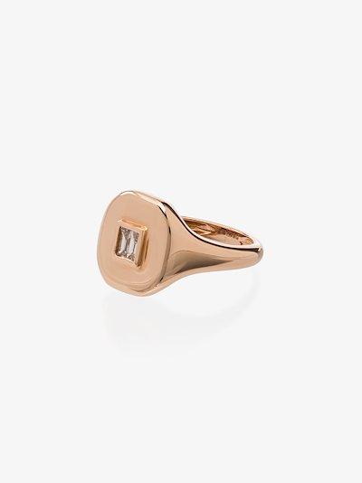 18K rose gold baguette diamond ring