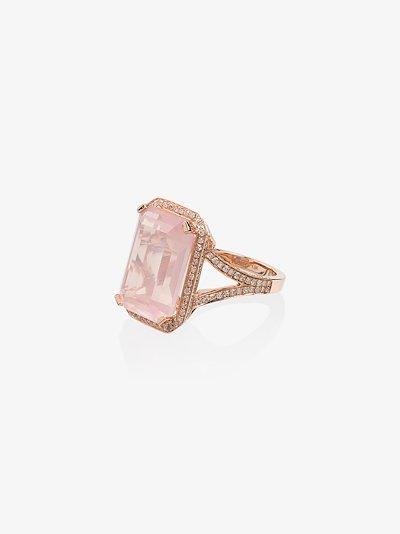 18K rose gold crystal diamond ring