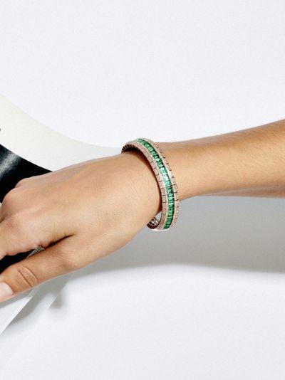 18K rose gold emerald diamond stretch bracelet