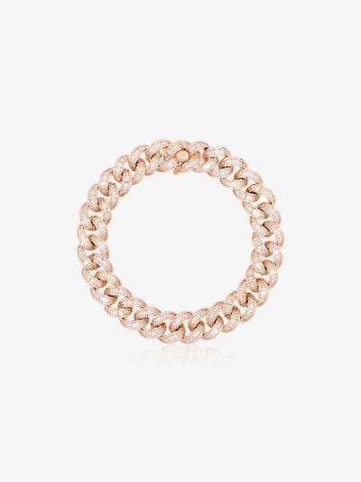 18K rose gold essential link baguette diamond bracelet