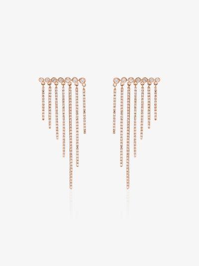 18K rose gold fringe diamond earrings