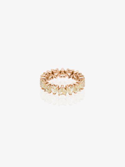 18K rose gold heart diamond ring