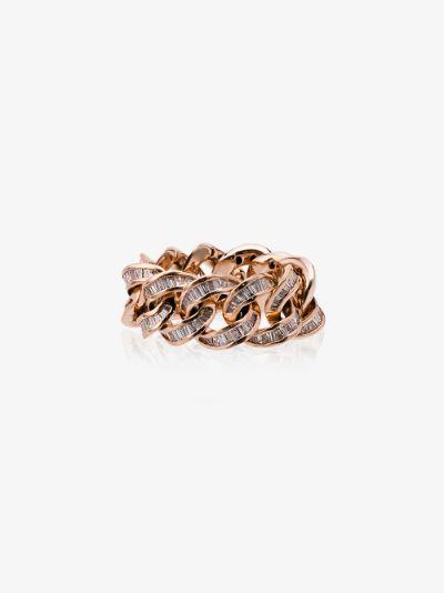 18K rose gold jumbo link diamond ring