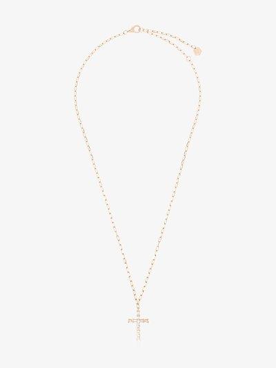 18K rose gold Mini Cross diamond necklace