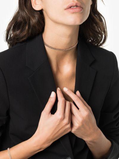 18K rose gold mini link diamond necklace