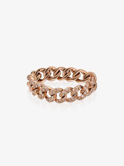 18K rose gold Mini Link diamond ring