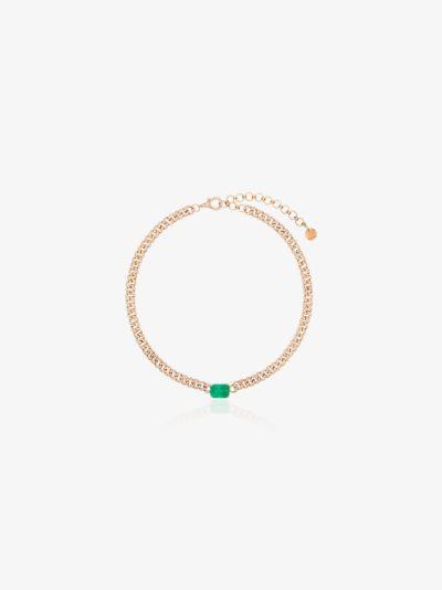 18K rose gold Mini Link emerald diamond necklace