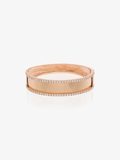 18K rose gold Nameplate large diamond bangle