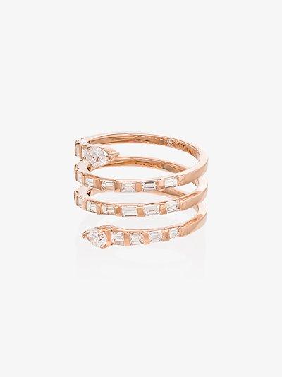 18K rose gold Pear Spiral Quad diamond ring