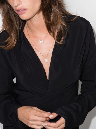 18K rose gold Portrait topaz diamond necklace