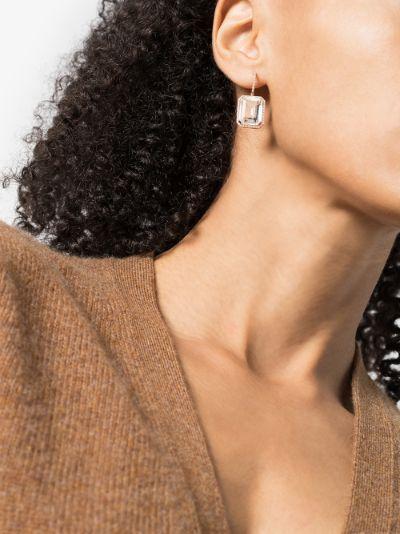 18K rose gold Portrait white topaz earrings