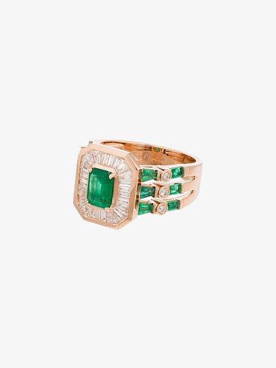 18K rose gold Triple Deco emerald diamond ring