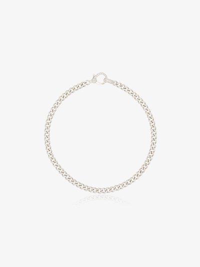 18K White Gold Baby Flat Link Diamond Bracelet
