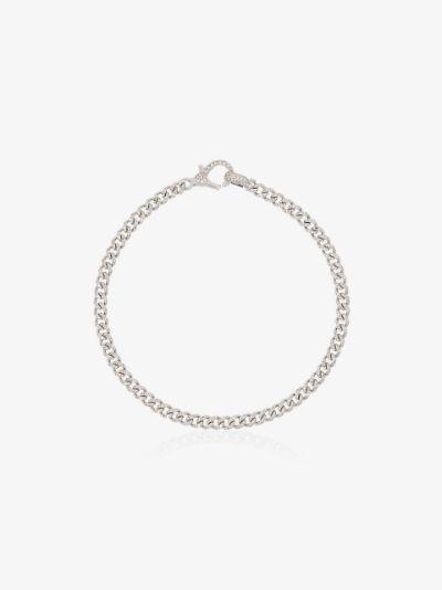 18K white gold baby link diamond bracelet