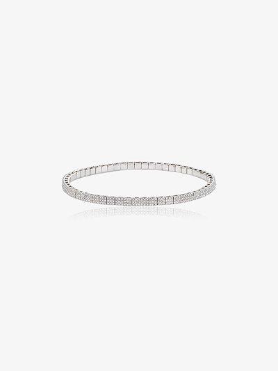 18K white gold diamond stretch bracelet